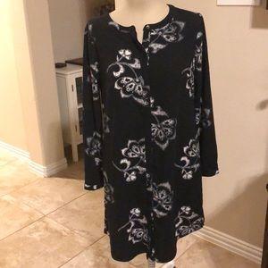 Black and white floral print shirt dress